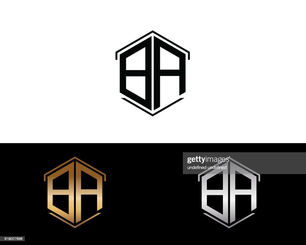 BA hexagon shape letters Design
