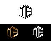 TE hexagon shape letters Design