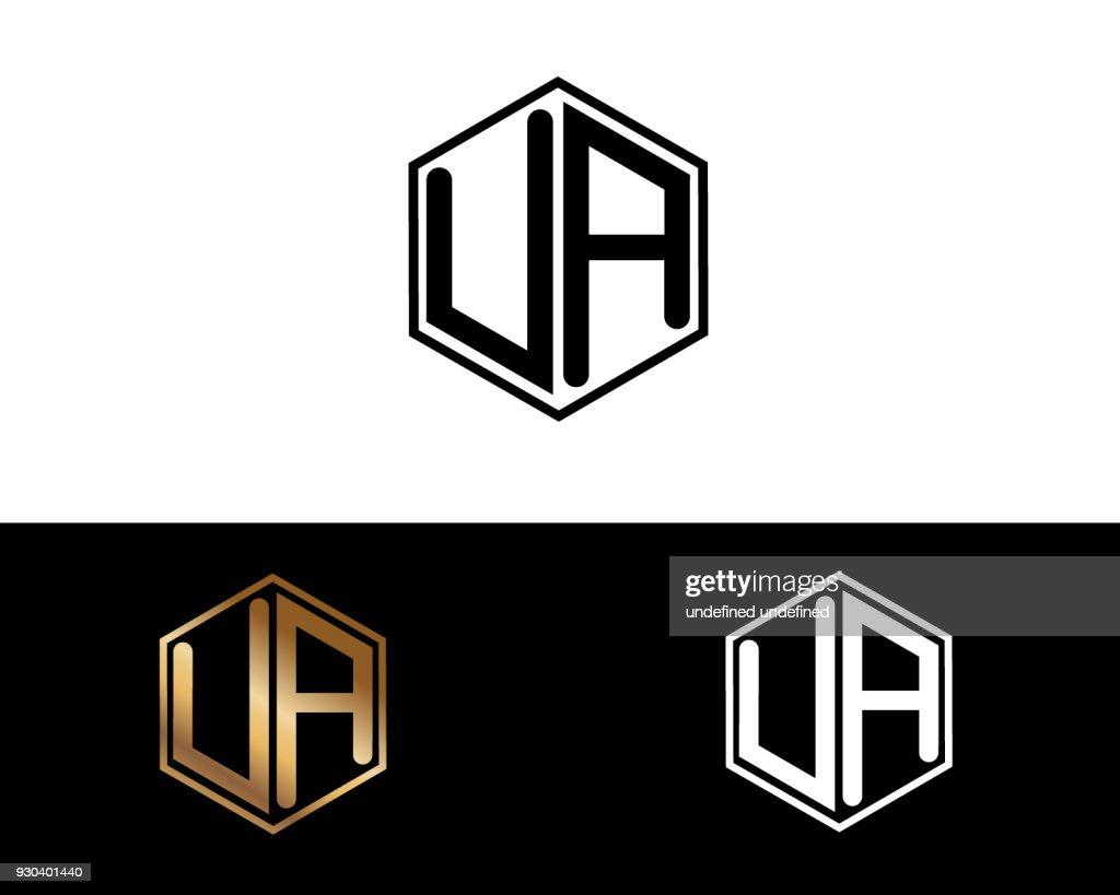UA hexagon shape letters Design