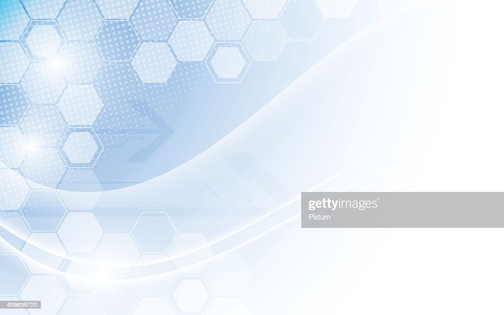 hexagon structure and smooth wave technology concept background
