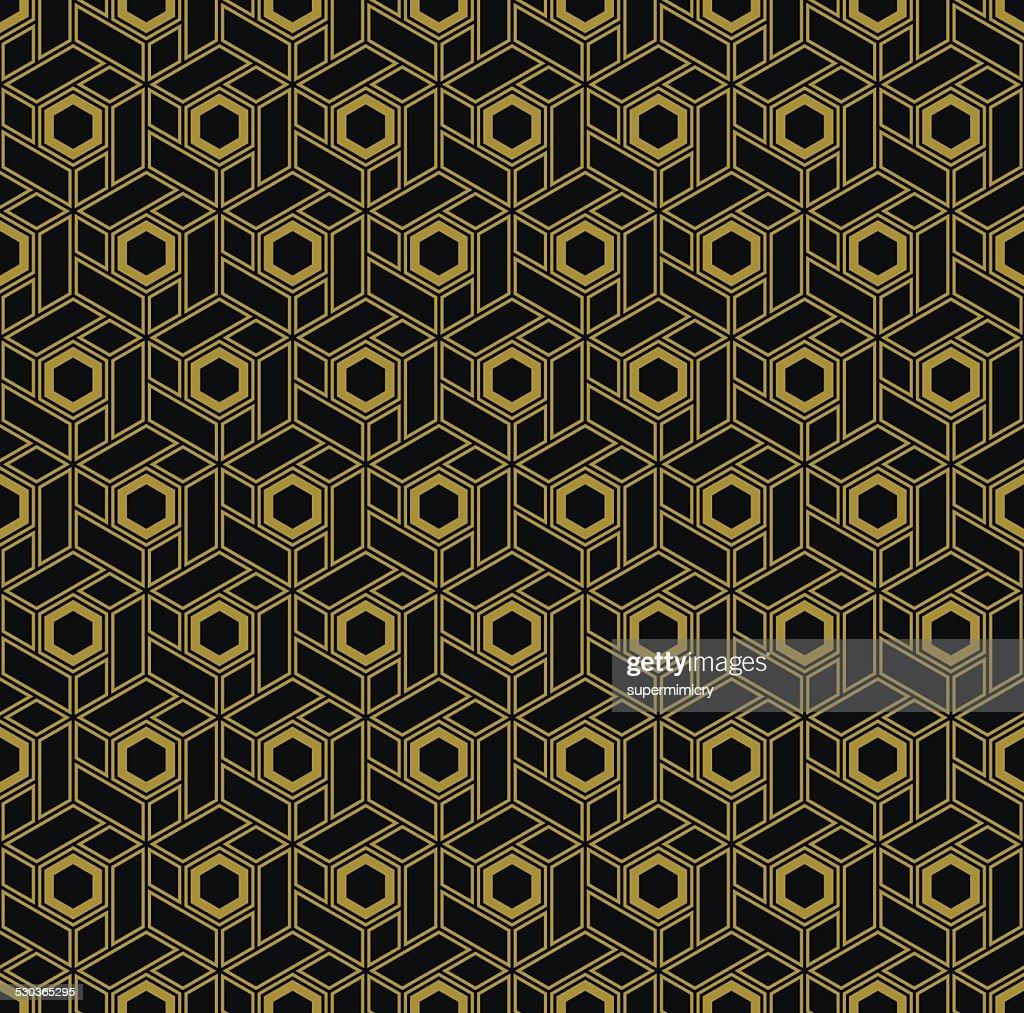 hexagonal blocks in art deco style