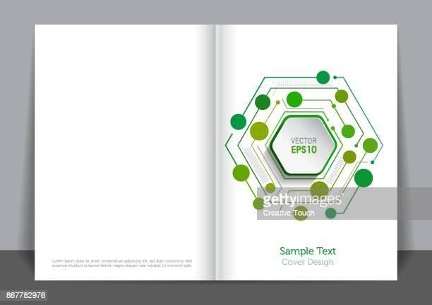 illustrazioni stock, clip art, cartoni animati e icone di tendenza di hexagonal cover design - economia