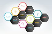 Hexagonal  infographics design elements for presentation, report, hart,diagram, infographic.