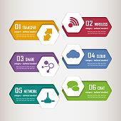 Hexagonal shape infographic elements