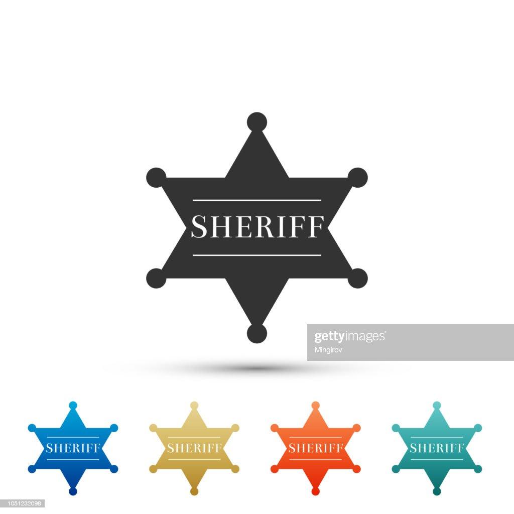 Hexagonal sheriff star icon isolated on white background. Sheriff badge symbol. Set elements in colored icons. Flat design. Vector Illustration