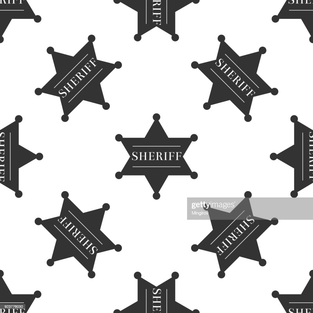 Hexagonal sheriff star icon seamless pattern on white background. Sheriff badge symbol. Flat design. Vector Illustration