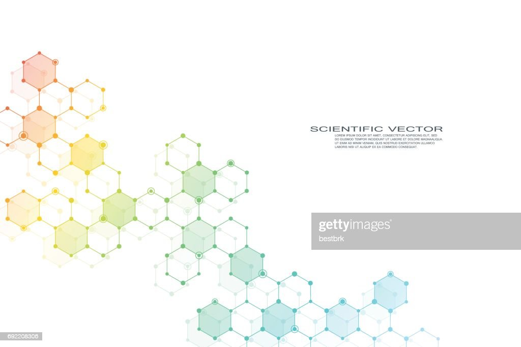 Hexagonal structure molecule dna of neurons system, genetic and chemical compounds. Vector illustration