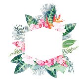 Hexagonal tropical label frame arranged from palms and flowers