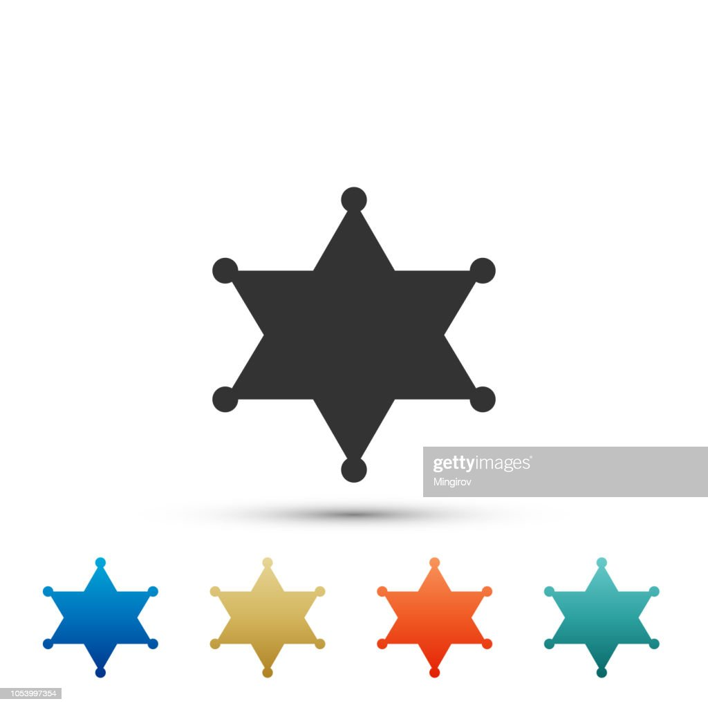 Hexagram sheriff icon isolated on white background. Set elements in colored icons. Flat design. Vector Illustration