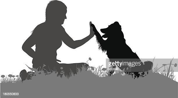 illustrations, cliparts, dessins animés et icônes de hi cinq - chien humour