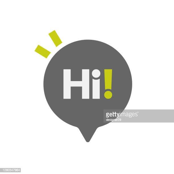hi speech bubble icon vector design. - thanks quotes stock illustrations
