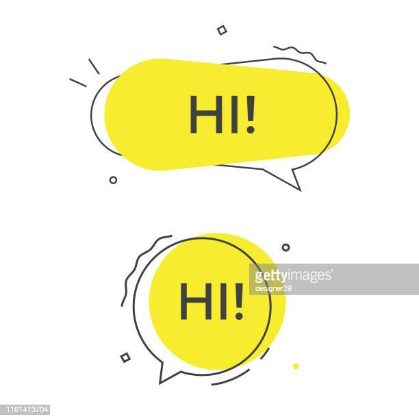 illustrazioni stock, clip art, cartoni animati e icone di tendenza di icona hi speech bubble vector. - testo