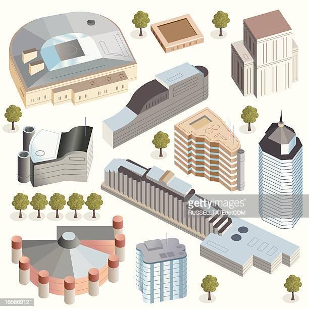 hi tech-büro, hotel und event-gebäude - stockwerk stock-grafiken, -clipart, -cartoons und -symbole