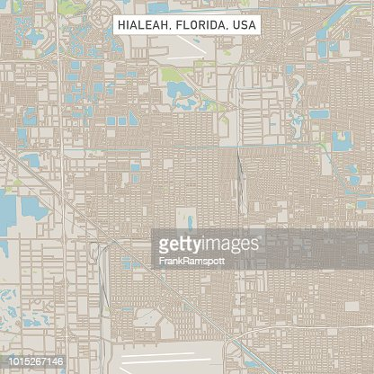 Hialeah Florida Us City Street Map Vector Art Getty Images