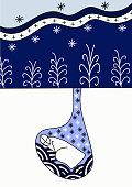 Hibernation in winter, cute cartoon art