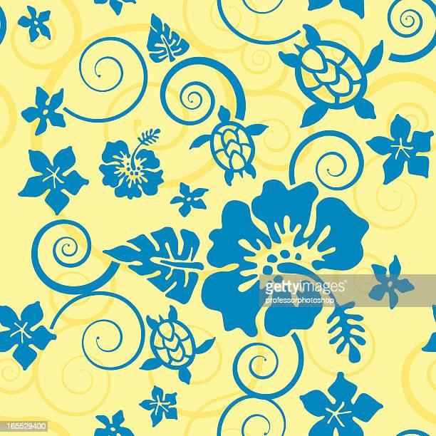 Hibiscus and Turtles Hawai'ian Pattern