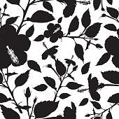 Flower black white clip art download 1000 clip arts page 1 elegant black and white wedding invitation template hibiscus flower black silhouette seamless background mightylinksfo