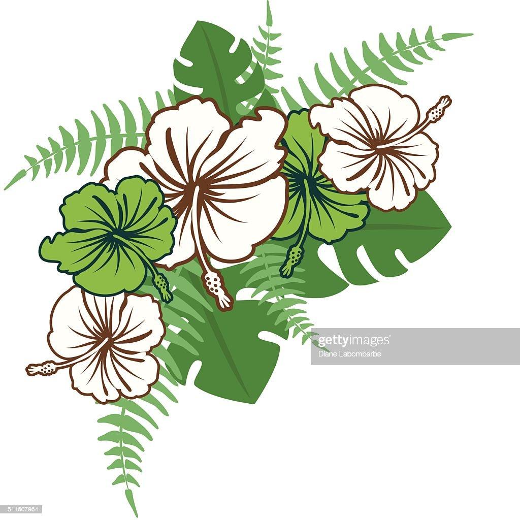 Hibiscus Flowers and Ferns Corner Element