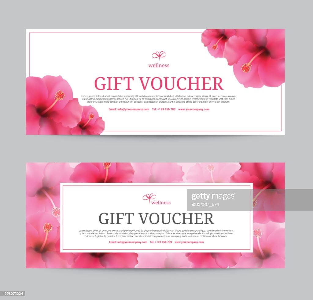 Hibiscus Flowers Background Gift Voucher Template For Spa Hotel