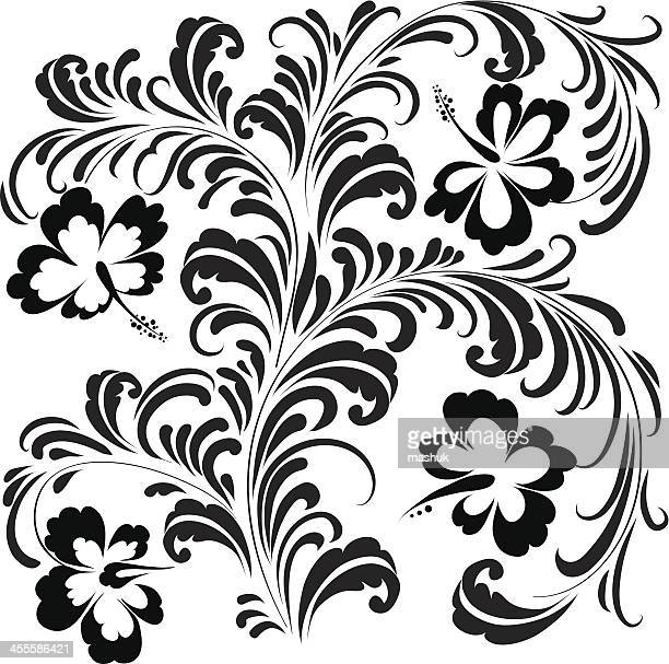 hibiscus ornament - bali stock illustrations