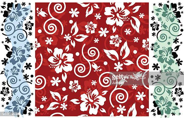 Hibiscus seamless background with panels