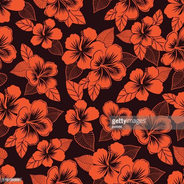illustrations, cliparts, dessins animés et icônes de hibiscus modèle sans couture . - hibiscus