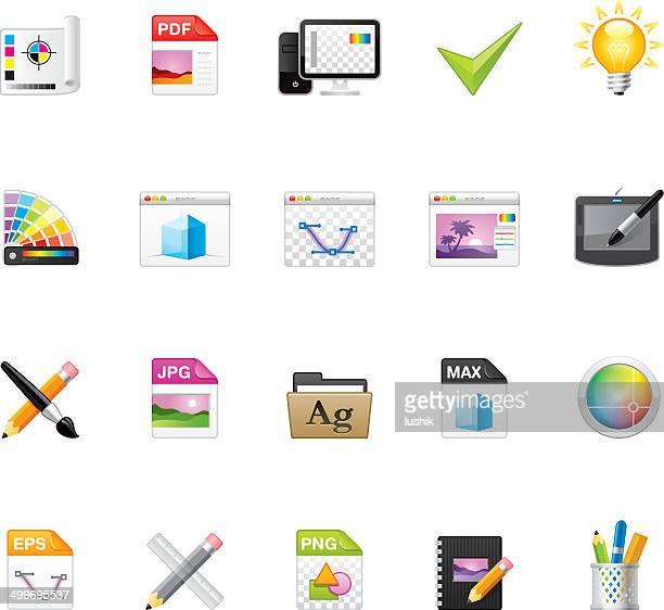 ilustraciones, imágenes clip art, dibujos animados e iconos de stock de hico iconos — estudio de diseño gráfico - pc de escritorio