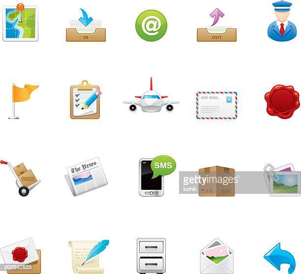 hico メールと後のアイコン— - 発送書類入れ点のイラスト素材/クリップアート素材/マンガ素材/アイコン素材