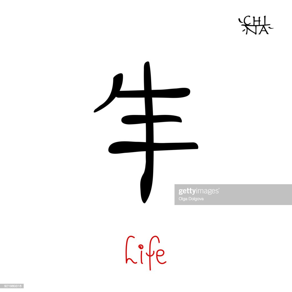 Hieroglyph chinese calligraphy translate - life