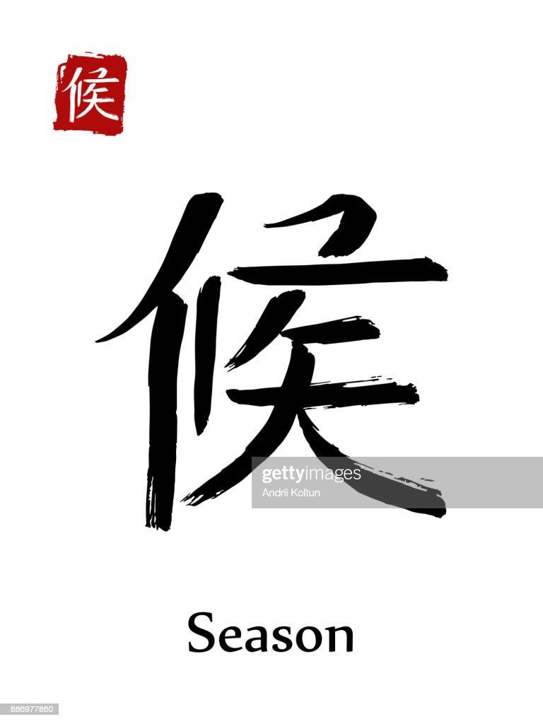 Hieroglyph Chinese Calligraphy Translate Season Vector East Asian