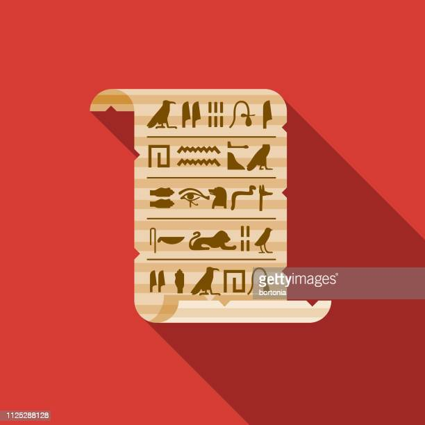 hieroglyphs on papyrus egypt icon - papyrus paper stock illustrations