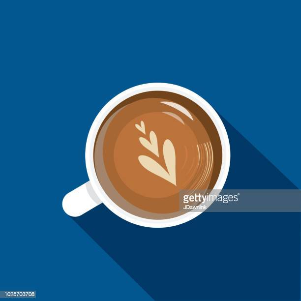 high angle view cappuccino coffee flat design themed icon with shadow - coffee cup stock illustrations