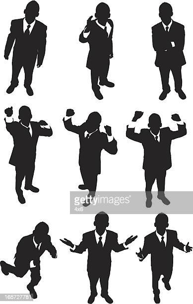 high angle view of excited businessmen - human body part stock illustrations
