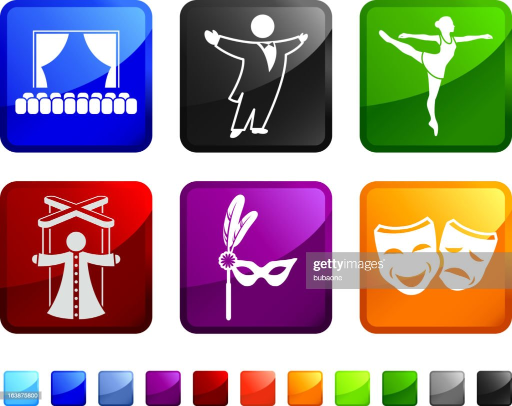 High Art and Theater royalty free vector icon set stickers