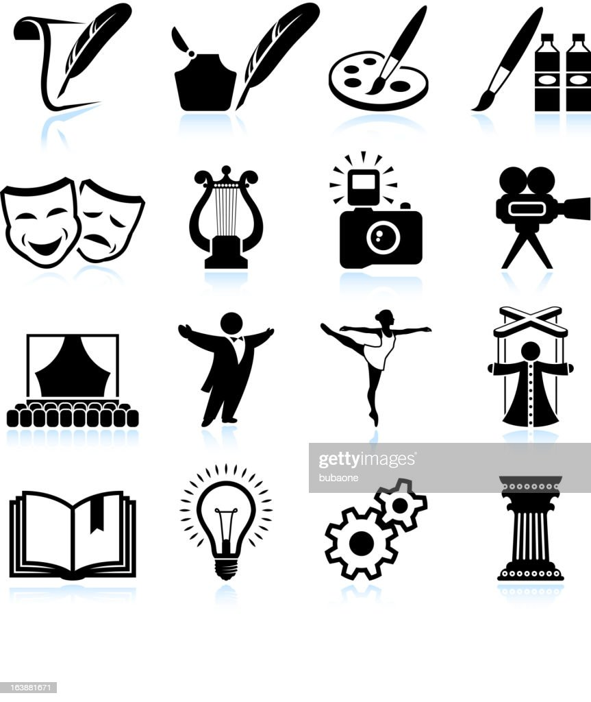 High Art Culture and creativity black & white icon set