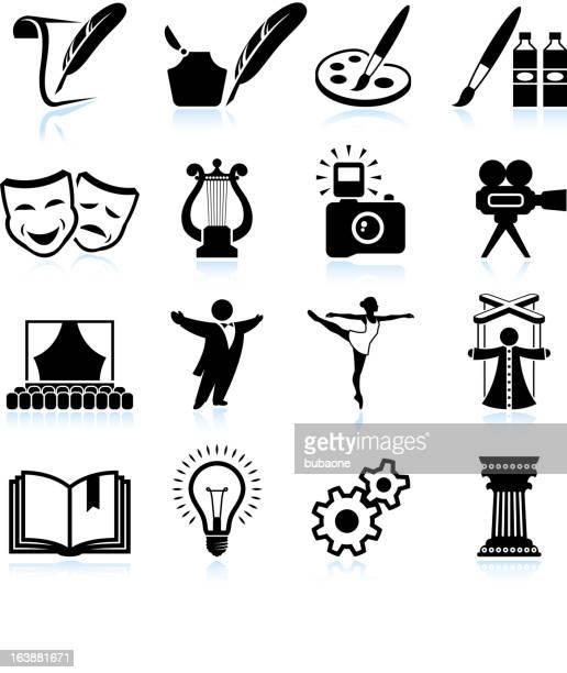 Hohe Kunst, Kreativität und Kuriosem & schwarz-weißen icon-set