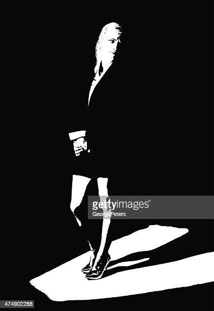 Alto-Contraste artístico Retrato de Mulher de Negócios em destaque