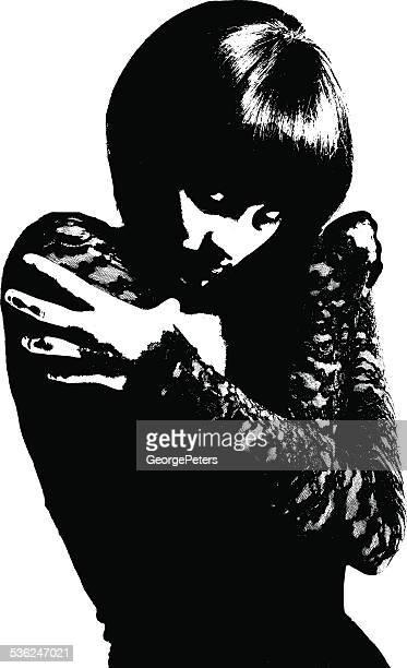 ilustrações de stock, clip art, desenhos animados e ícones de alto contraste retrato de uma rapariga gótico - mulher fatal