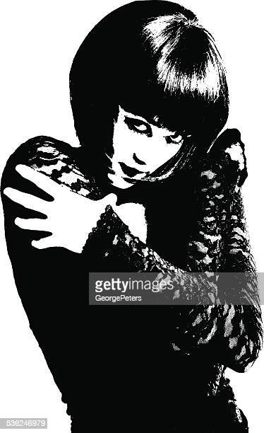 high contrast portrait of sensuous woman - goth stock illustrations, clip art, cartoons, & icons