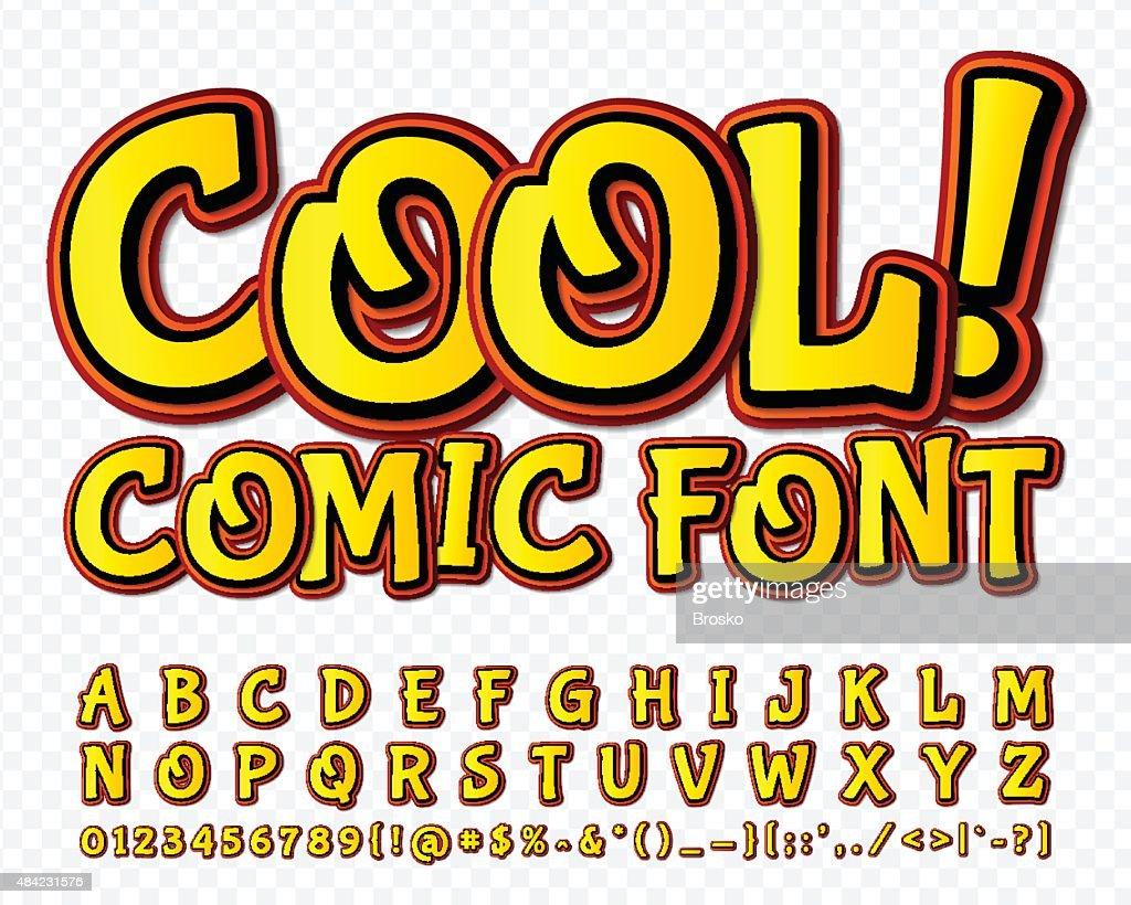 High detail yellow comic font. Alphabe, comics, pop art