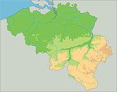 High detailed Belgium physical map.
