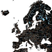 High detailed Europe road map with labeling - Black.