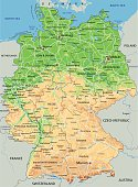 High detailed Germany physical map.