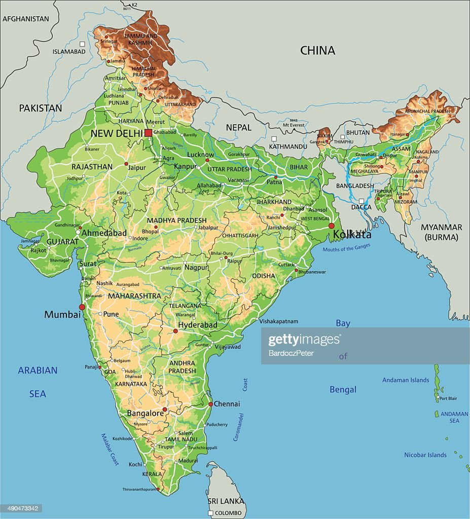 High detailed India physical map.