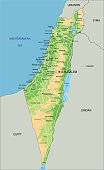 High detailed Israel physical map with labeling.