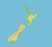 High detailed New Zealand physical map.