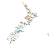 High detailed New Zealand road map with labeling.