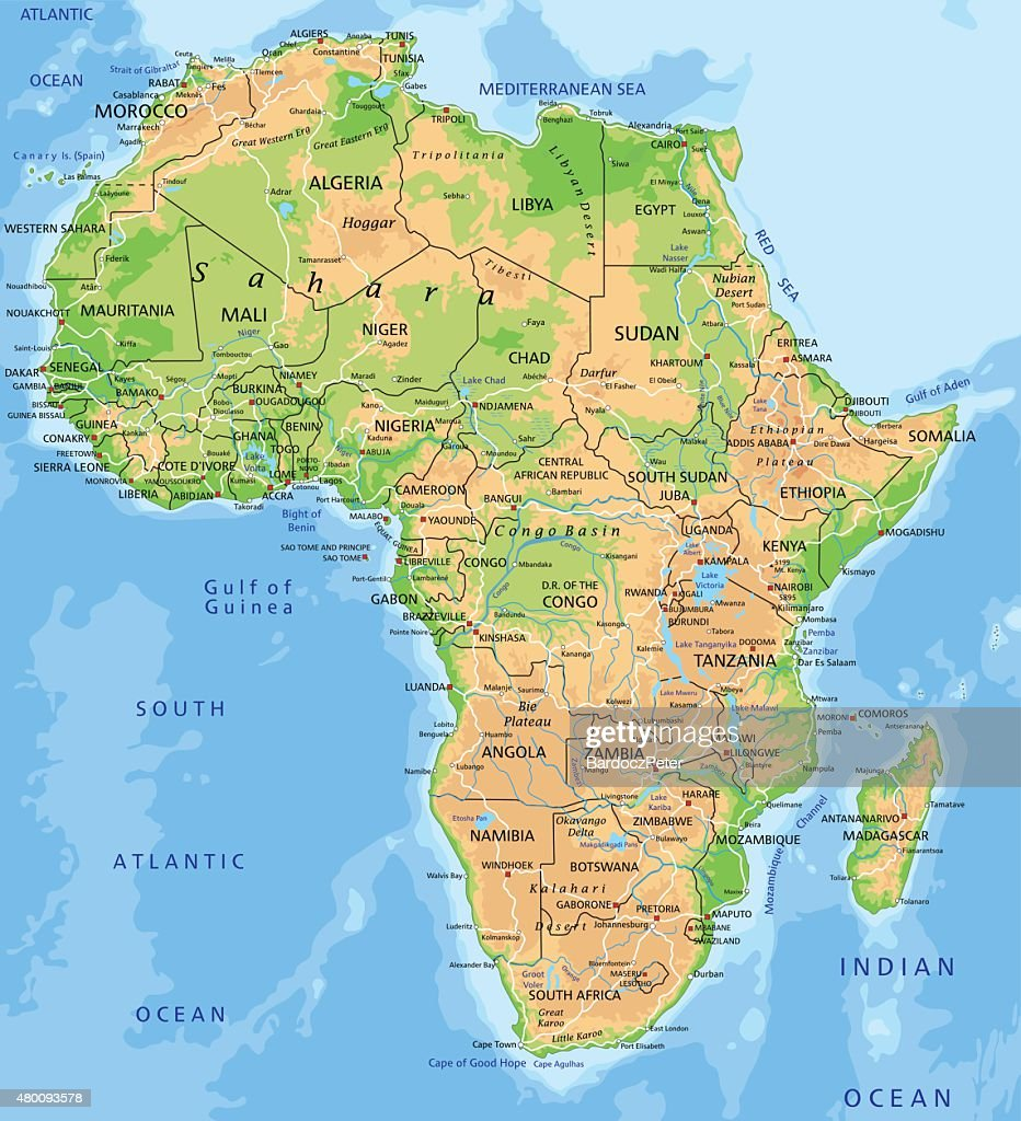 High detailed physical map of Africa.