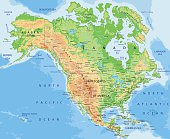 High detailed physical map of  North America.