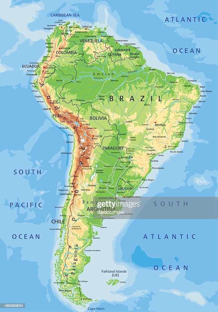 High detailed physical map of South America.